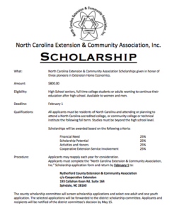 Cover photo for NC Extension & Community Association Scholarship