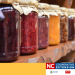 Image is a row of jars filled with various preserves