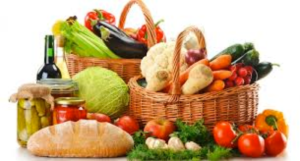 Baskets filled with a variety of fresh food.
