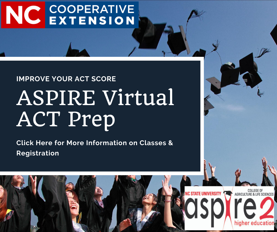 Graduates throwing caps in air with a sign reading Improve your ACT Score, Aspire Virtual ACT Prep