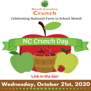 Image depicts 3 apples with a banner that reads NC Crunch Day