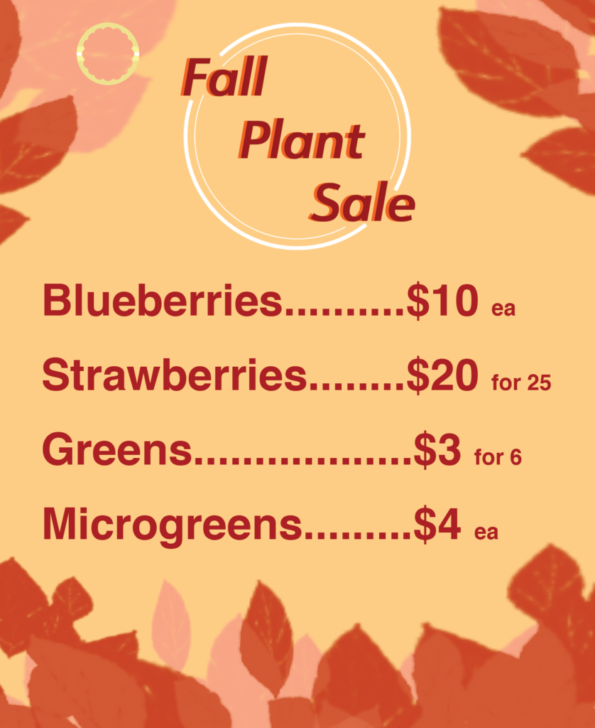 Fall plant sale flyer with plant prices